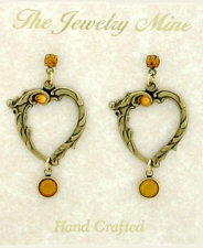 Vintage Look Victorian Style Open Heart Earrings | Topaz Austrian Crystal