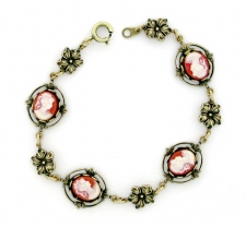 Vintage Inspired Victorian Style Cameo Bracelet - Carnelian