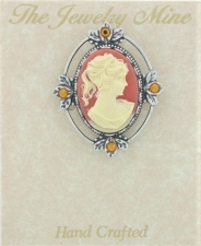 Vintage Victorian Style Silver Cameo Brooch Pin - Corn
