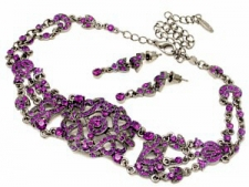 Vintage Style Victorian Filigree Choker Necklace Set - Amethyst Austrian Crystal