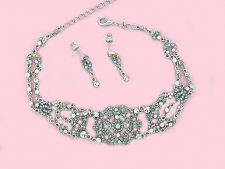 Vintage Inspired Victorian Style Filigree Choker Necklace Set - Crystal