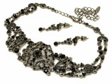 Vintage Inspired Victorian Filigree Choker Necklace Set - Jet Austrian Crystal