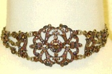 Vintage Inspired Victorian Filigree Choker Necklace Set - Topaz Austrian Crystal