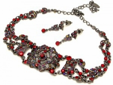 Vintage Inspired Victorian Filigree Choker Necklace Set - Ruby Austrian Crystal