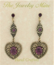 Vintage Style Austrian Crystal Chandelier Heart Earrings
