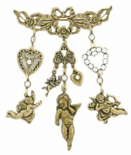 angel charm brooch,crystal victorian brooch