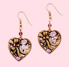 victorian style hand painted fashion heart earrings
