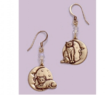 Vintage Inspired Cat Jewelry | Cat On Moon Earrings