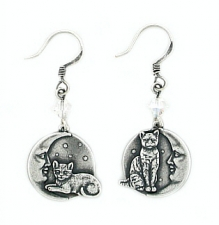 vintage fashion cat earrings