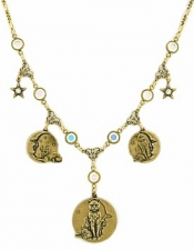vintage cat charm necklace,vintage celestial jewelry