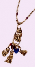 vintage look victorian style cat charm necklace
