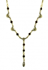 Vintage Inspired Art Deco Style Austrian Crystal Y-Necklace - Jet