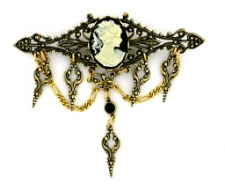 Vintage Inspired Victorian Style Filigree Cameo Bar Pin - Jet