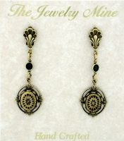 Vintage Look Art Deco Style Drop Earrings - Brass Intaglio