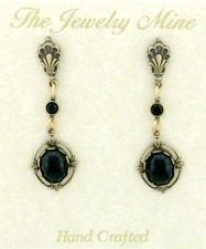 Vintage Victorian Style Austrian Crystal Cabochon Drop Earrings - Jet