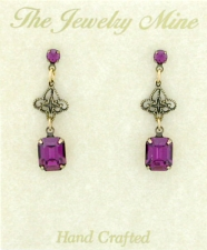 Vintage Filigree Drop Earrings - Amethyst Austrian Crystal