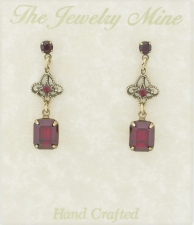 Vintage Filigree Drop Earrings - Ruby Austrian Crystal
