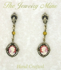 Vintage Victorian Style Carnelian Cameo Drop Earrings Wholesale