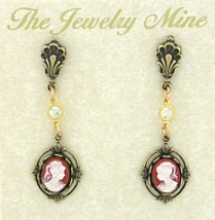 Vintage Look Victorian Style Cameo Drop Earrings - Corn