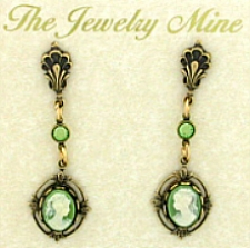 Vintage Inspired Victorian Style Cameo Drop Earrings - Green