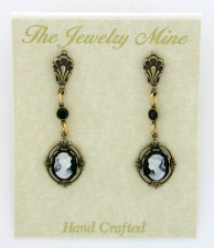 Vintage Inspired Victorian Style Cameo Drop Earrings - Black