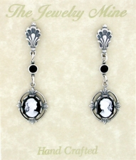 Vintage Victorian Black Cameo Drop Earrings - Antique Silver Plated