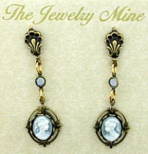 Vintage Look Victorian Style Cameo Drop Earrings - Blue