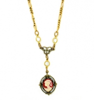 Vintage Inspired Victorian Style Cameo Necklace - Pink
