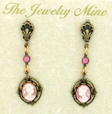 Vintage Victorian Style Pink Cameo Drop Earrings Wholesale
