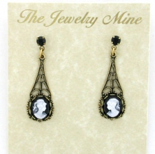 vintage look Victorian style filigree cameo earrings