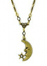 Moon/Austrian Crystal Star Necklace