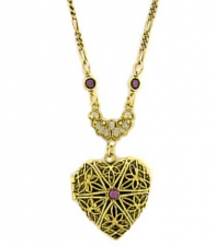 Vintage Victorian Style Filigree Heart Locket Necklace
