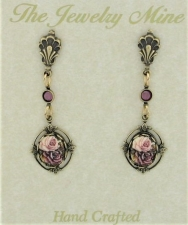 Vintage Inspired Victorian Style Porcelain Flower Stone Earrings