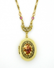 Vintage Style Locket Necklace - Porcelain Flowers Stone