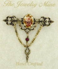 Vintage Inspired Victorian Style Filigree Bar Pin - Porcelain Flowers Stone