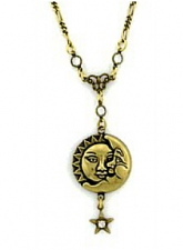 Vintage Celestial Jewelry - Sun & Moon Celestial Necklace