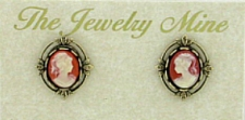 Vintage Inspired Victorian Style Cameo Button Earrings - Corn