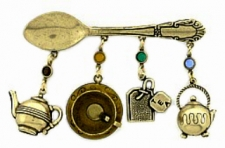antique tea charm pin,vintage brooch,tea jewelry,wholesale costume jewelry