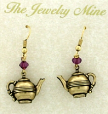 Vintage Style Tea Pot Charm Earrings