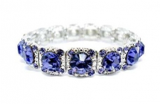 Wholesale Costume Jewelry | Tiffany Inspired Legacy Style Austrian Crystal Bracelet - Tanzanite