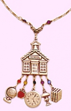 school teacher charm necklace,school teacher jewelry