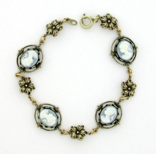 Vintage Look Victorian Style Cameo Bracelet - Blue Cameo