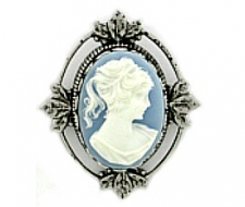 Vintage Inspired Victorian Style Cameo Brooch Pin - Blue | Antique Silver Plated