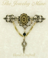 Vintage Look Art Deco Style Filigree Bar Pin
