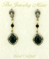 Vintage Style Cabochon Stone Drop Earrings - Jet