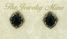 Vintage Inspired Victorian Style Austrian Crystal Button Earrings - Jet