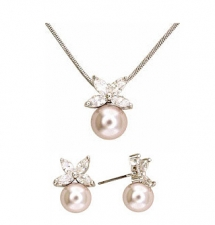 pearl cz fashion jewelry necklace