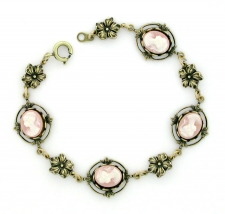 Vintage Inspired Victorian Style Cameo Bracelet - Pink Cameo