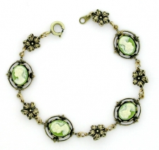 Vintage Inspired Victorian Style Cameo Bracelet - Green Cameo