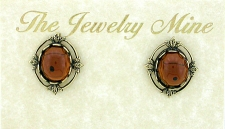 Vintage Inspired Victorian Style Austrian Crystal Button Earrings - Topaz
